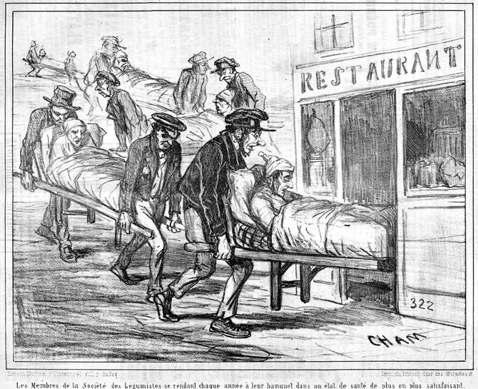 Cham « Les membres de la Société des Légumistes se rendant chaque année à leur banquet dans un état de plus en plus satisfaisant » (Le Charivari, 16 novembre 1853).